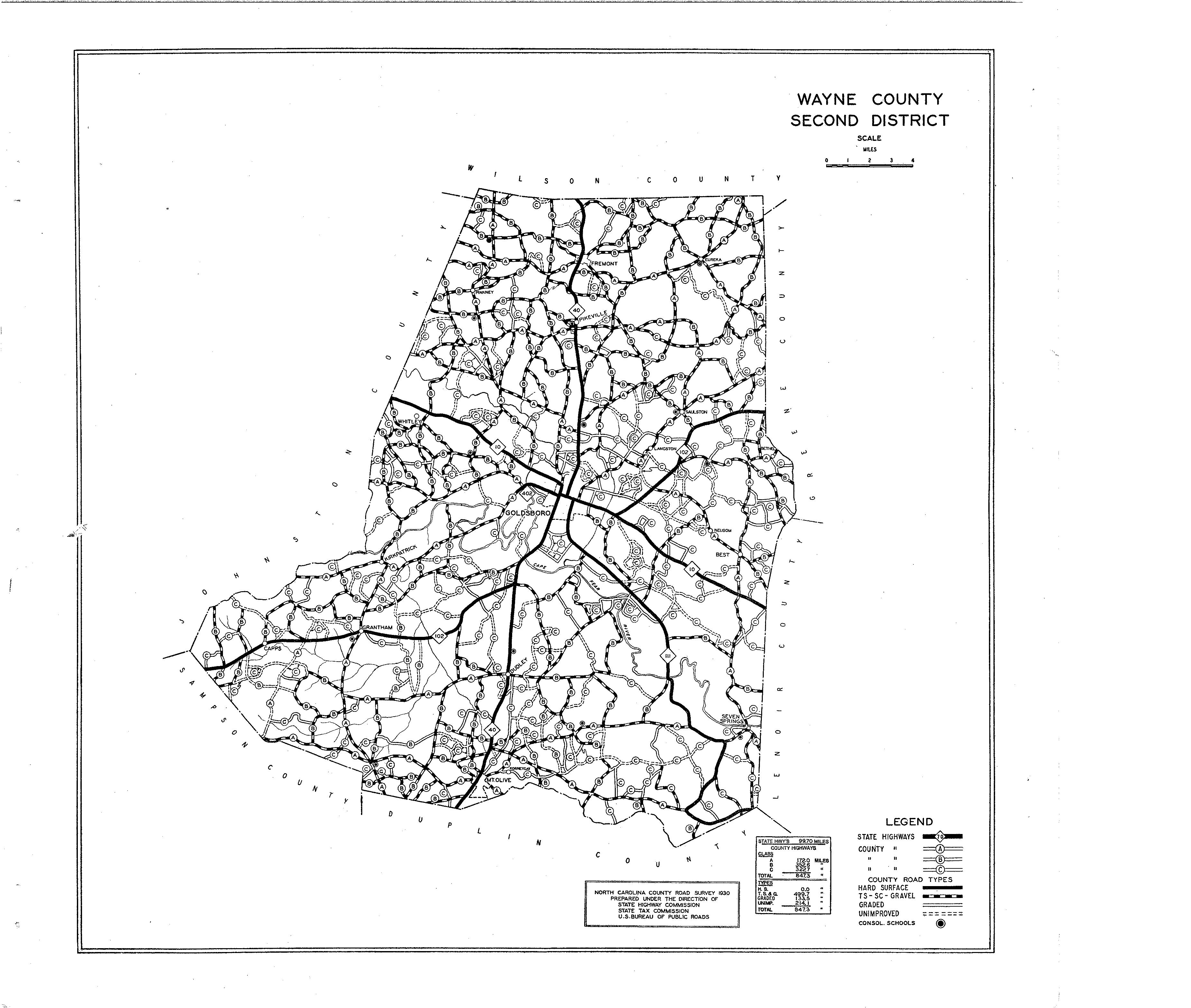 Wayne County Maps - North carolina road map